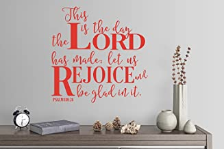 "Wall Sticker quotes 24""x24"" This Is The Day The Lord Has Made Let Us Rejoice and Be Glad In It Psalm 118:24 Hymn Song Gospel Wall Decal Sticker Art Mural Home Decor Quote"