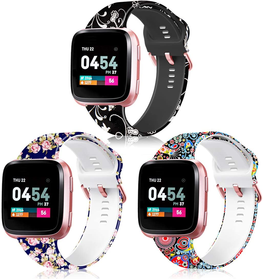 ZEROFIRE Bands Compatible with Fitbit Versa Pattern Replacement Wristband for Women Men, Soft Silicone Fadeless Printed Strap for Fitbit Versa Fitbit Versa 2 and Fitbit Versa Lite Edition