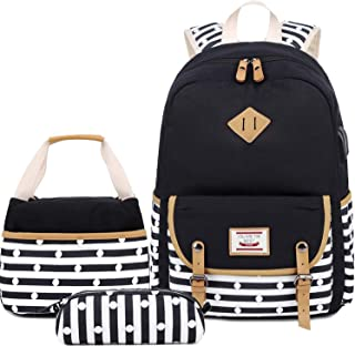 BLUBOON Bookbags Canvas Stripe School Backpack Set for Teen Grils with USB Charging Port (619 Black)