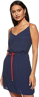 فستان مزود بشريط يحمل شعار العلامة التجارية للنساء من تومي جينز