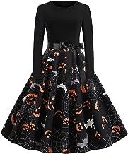 KCatsy Women Halloween Pumpkin Face Bat Print Long Sleeve A-Line Fashion Dress