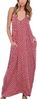 3144e2c967c Zanzea Femmes élégant bohème Coton Casual Robe Fluide Long Plage Pois Col V  sans Manches -