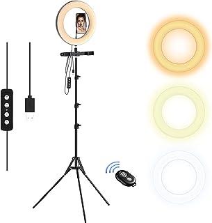 Selvim Anillo de Luz 10'' LED Trípode, Aro de luz 2,1m Regulable, 3 Soportes para Teléfono Móvil, Control Remoto Bluetooth...