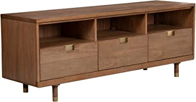 Benjara 64 Inches 3 Drawer TV Console with Open Compartments, Brown