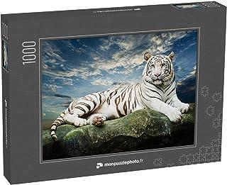 monpuzzlephoto Puzzle 1000 pièces Tigre Blanc avec Fond de Ciel - Puzzles Classiques dans Une boîte Noble avec Motif.
