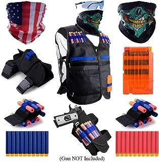 Gifts2U Kids Tactical Vest for Nerf Guns N-Strike Elite, Justice VS Evil Tactical Gears: Vest, Waist Bag, Wrist Bands, Quick Reload Clip, Masks, Protective Glasses, Refill Soft Darts for Boys