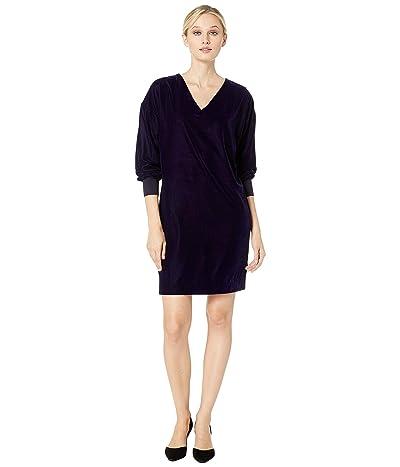 LAUREN Ralph Lauren Velvet V-Neck Dress (Deep Amethyst) Women