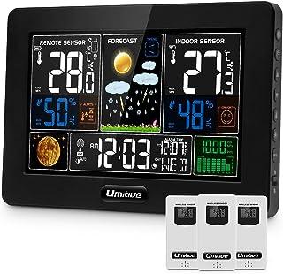 Umitiv väderstationsfärgdisplay med 3 utegivare, 9-IN-1 trådlös väderstation digital med utetemperatur fuktighet barometri...