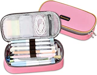 Homecube Pencil Case Big Capacity Storage Oxford Cloth Pen Bag Makeup Pouch Durable Students Stationery with Double Zipper Pen Holder for School & Office - Pink