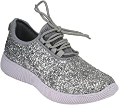 Remy18 H-Silver Lace up Rock Glitter Fashion Sneaker w Elastic Tongue & White Outsole -7.5