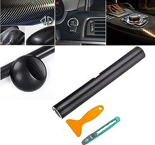 AMIGOB 4D Carbon Folie Klebefolie (200x30cm) Schwarz Klebend Carbon Fahrzeug KFZ Autofolie