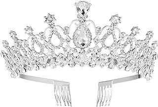 MaoXinTek Diadema Corona Tiara con Peine Hairband de Cristal Diamantes de imitación Fiesta Boda Novia Niña Mujer Partido d...