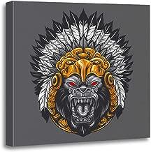 Semtomn Canvas Wall Art Print Mayan Angry Gorilla Wearing Aztec Headdress Eagle Jaguar Tattoo Artwork for Home Decor 16 x 16 Inches