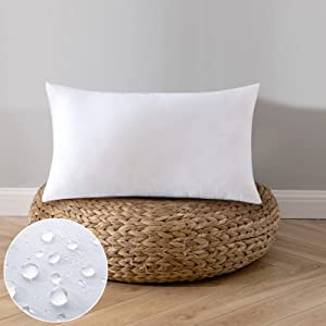 EMEMA 1 Piece Outdoor Pillow Inserts Waterproof Throw Pillow Premium Fluffy Decorative Cushion Rectangle Inner Soft for Patio Furniture Garden Sleeping Bed Couch Sofa Bedroom 12x20 Inch 30x50 cm