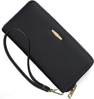 Portafoglio Donna, PU pelle con zip/cerniera XXL di grande capacità, COCASES Clutch Pochette con cinturino per polso (B-ne...