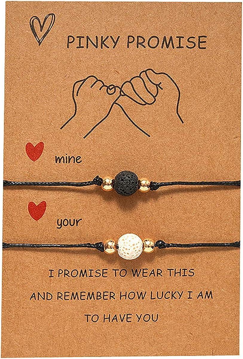 XUN Zhe 2Pcs Volcanic Rock Stone Couples Bracelet,Pinky Promise Forever Best Friend Bead Bracelet Aromatherapy Essential Oil Diffuser Healing Lava Bracelet