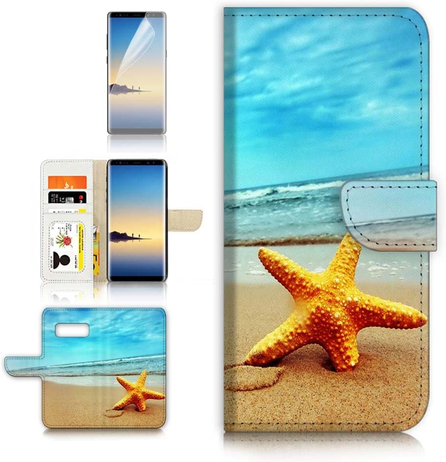 (for Samsung S10+ / Galaxy S10 Plus) Flip Wallet Case Cover & Screen Protector Bundle - A0021 Beach Sea Starfish