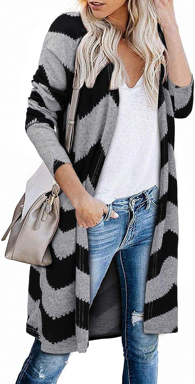 OUGES Damen Boho Colorblock Open Front Cardigan Shirt mit Taschen Langarm Leichter Mantel Farbe01