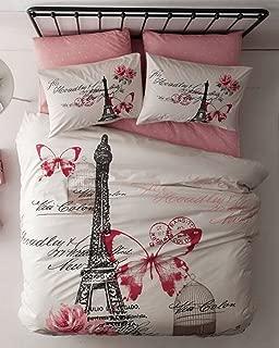 100% Turkish Cotton - 4 Pieces - Ranforce Paris Eiffel Tower Theme Themed Full Double Queen Size Quilt Duvet Cover Set Bedding, Pink