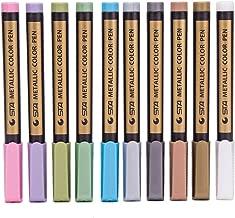 Fan-Lin 10PC Metallic Permanent Markers Paints Pens,Art Glass Paint Writing Markers Pen,DIY Card Making Tool Pen,Colored Metal Water Mark Pen,Random Color(B:10PCS)