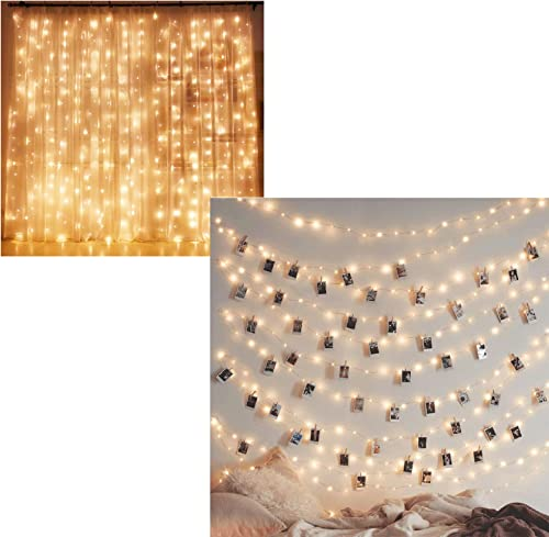 wholesale Twinkle Star 300 LED Curtain Lights | 200 LED wholesale 66ft Fairy String Lights USB & Adapter Powered, Warm popular White outlet sale