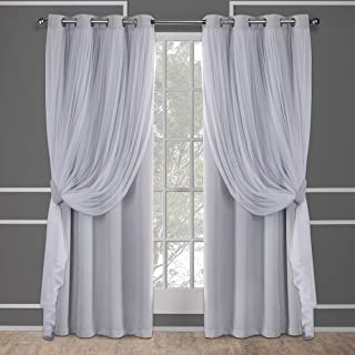 Exclusive Home Curtains Catarina Layered Solid Blackout and Sheer Window Curtain Panel Pair with Grommet Top, 52x108, Clou...