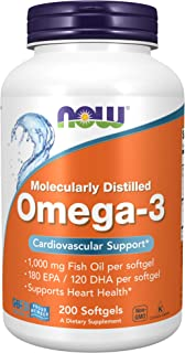 NOW Supplements, Omega-3 180 EPA / 120 DHA, Molecularly Distilled, Cardiovascular Support*, 200 Softgels