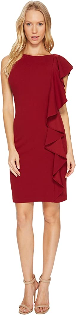 Adrianna Papell - Knit Crepe Shoulder Ruffle Dress