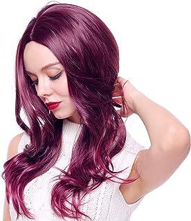 Women`s Long Wavy Wig for Women Halloween Cosplay Party Wigs (Wine)