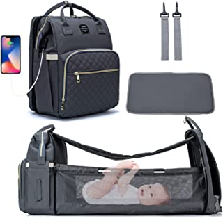شنطة سرير بيبي مامي قابلة للطي للحفاضات مضادة للماء بشحن USB من لو كوين - اللون رمادي