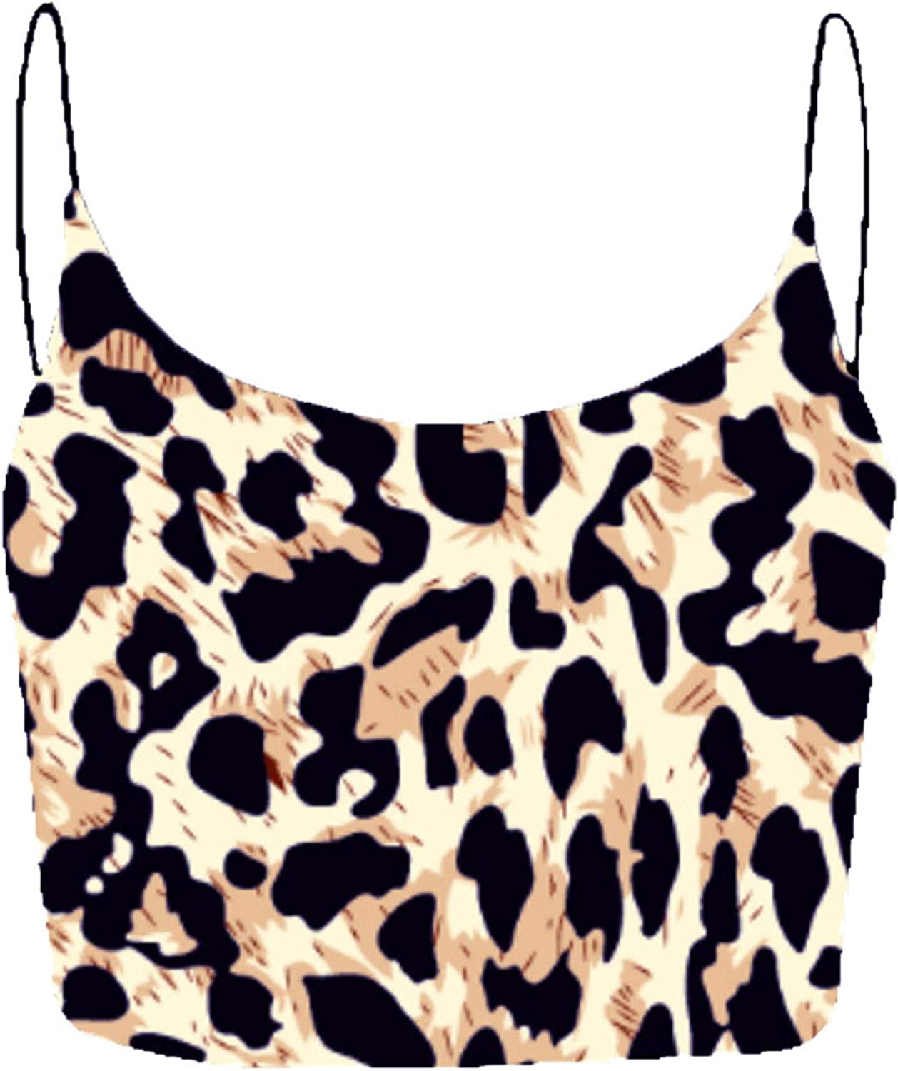 Women's Spaghetti Strap Tops Camisole Tank Crop Tops, Sleeveless Yoga Sports Sexy Cami,Printing Leopard Floral Vest