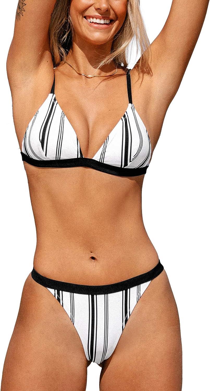 CUPSHE Women's Bikini Swimsuit Low Rise Triangle Stripe Two Piece Bathing Suit