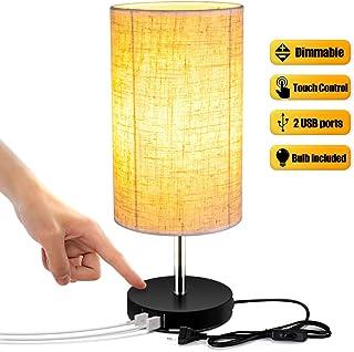 Lightess Lámpara de Mesa Control Táctil Lámpara Mesita de Noche Dual USB Brillo Ajustable Pantalla de Tela Lámpara Nocturna para Dormitorio, Habitación de Bebé, Incluye Bombilla Ajustable, Rodondo