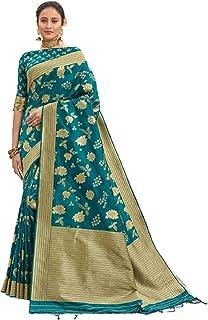 Royal party wedding south indian woman green Bridal Silk Saree border & Rich Pallu Sari Blouse 6304