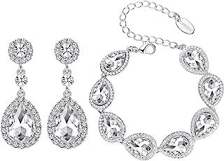 mecresh Flower Teardrop Earring&Bracelet,Austrian Crystal Jewelry Sets for Women or Bridesmaids