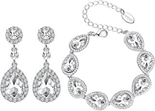 mecresh Flower Teardrop Earring&Bracelet,Austrian Crystal Jewelry Sets for Women or Bridesmaids