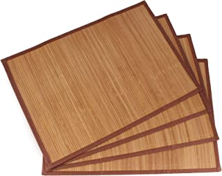 BambooMN Brand - Bamboo Slat Placemat with Brown Fabric Border Carbonized Brown - 4pc