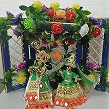 VRINDAVANBAZAAR.COM 4 inch Radha Krishna Deity with Complete shringar and Artifical Flower Backdrop