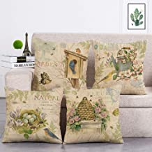 geinne 4pack Nature Style Throw Pillow Case Vintage Garden Flower and Bird rggs Theme Decorative Square Cotton Linen Cushi...