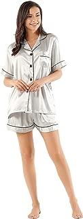 Women's Satin Silk Pajamas Set Short Sleeve Button-Down Pj Set Sleepwear Loungewear Two Piece Pj Sets