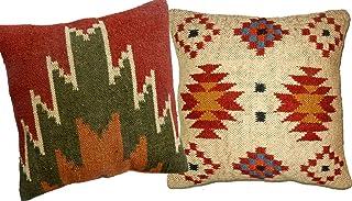 iinfinize 2 fundas de cojín de lana de yute, estilo vintage, de 45,7 x 45,7 cm, cojín étnico, cojín de yute, cojín Kilim, almohada de yute tejida a mano, almohada étnica