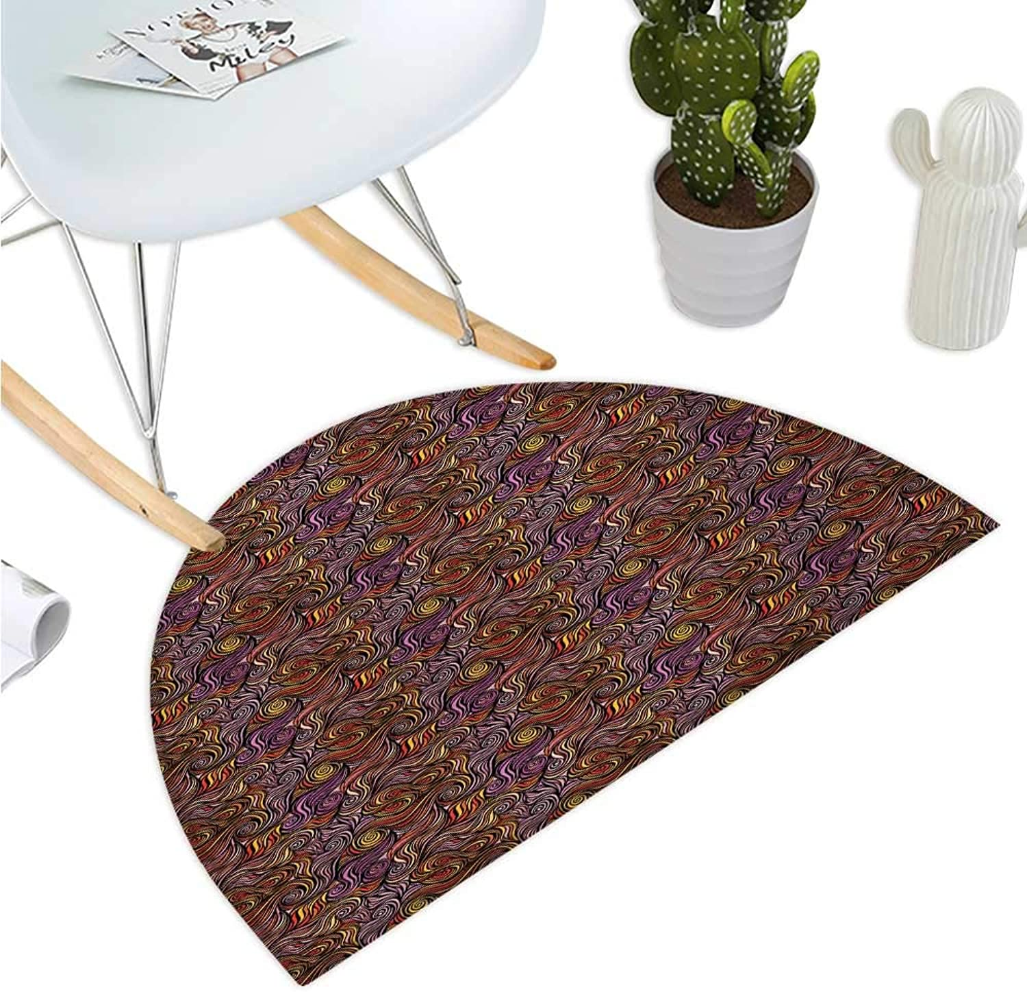 Abstract Semicircle Doormat Smoothly Engaging colors Hand Drawing Style Wave Design with Spirals and Swirls Entry Door Mat H 39.3  xD 59  Multicolor