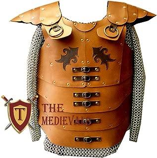 The Medieval Shop Genuine Leather Vest Medieval LARP Armor, Viking SCA Renaissance - Black