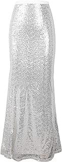 Women's Sequin Maxi Skirt Glitter Bodycon Long Mermaid Skirt Formal Skirts