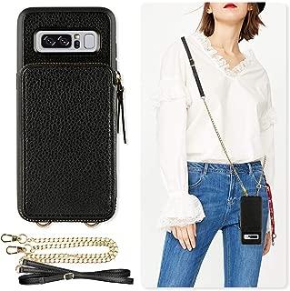 Samsung Galaxy Note 8 Wallet Case, ZVE Galaxy Note 8 Case with Credit Card Holder Crossbody Chain Wristlet Zipper Purse Handbag Protective Shockproof Case Cover for Samsung Galaxy Note 8 6.3 - Black