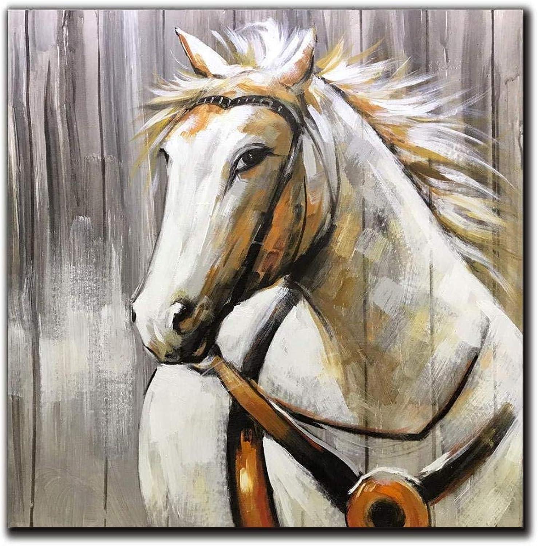a precios asequibles Puro Pintado Pintado Pintado A Mano Abstracto Animal Colorado Caballo Pintura Al óleo Sala De EEstrella Salón De Té Hotel Decoración De La Parojo Caballo blancoo 100X100Cm  marca