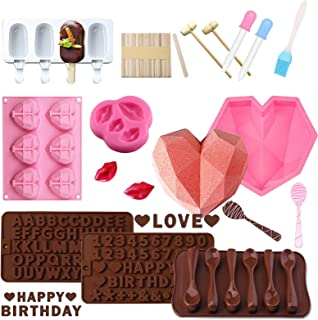 Big and Mini Breakable Heart Molds Set for Chocolate, Diamond Heart Silicone Cake Molds for Baking with Hammers, Popsicle ...