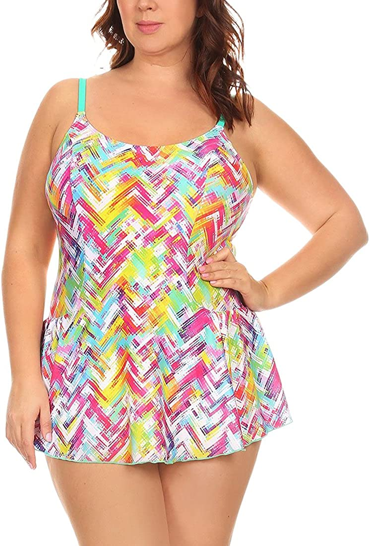 ToBeInStyle Women's One Piece Alluring Fashionable Swimdress w/Briefs Attached - Extended Sizes
