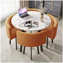 YANGBM Round Home Living Room Dining Table 90cm Marble Round Table Simple Office Leisure Table Retro Metal Legs 4 Cotton L...