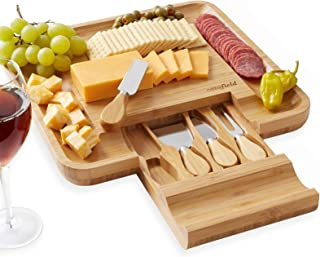 Casafield Organic Bamboo Cheese Cutting Board & Knife Gift Set - Wooden Serving Tray for Charcuterie Meat Platter, Fruit &...